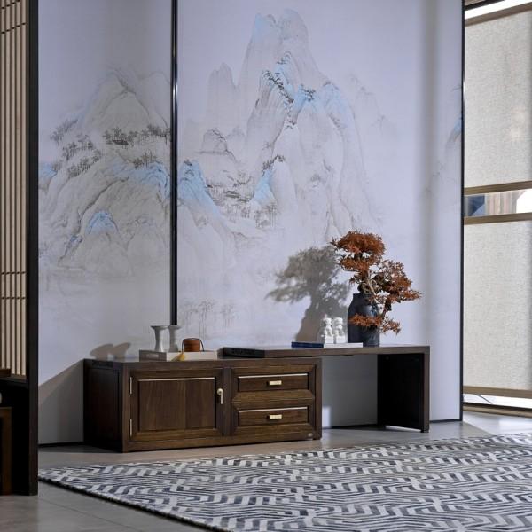 恒久一檀新中式实木家具客厅伸缩电视柜