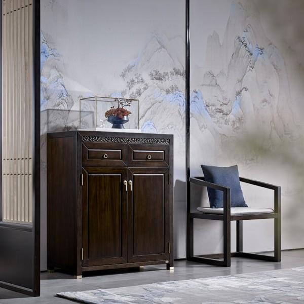 恒久一檀新中式实木家具鞋柜 休闲椅