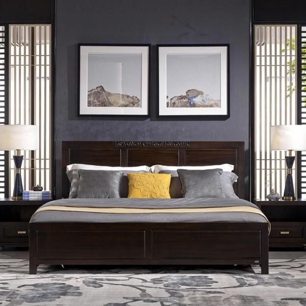 恒久一檀新中式实木家具卧房简约实木大床 床头柜