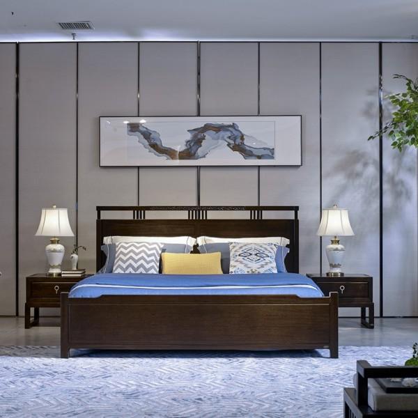 恒久一檀新中式实木家具卧房简约实木大床 床头柜 梳妆台妆镜