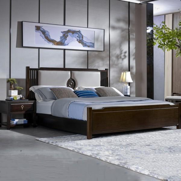 恒久一檀新中式实木家具卧房简约实木大床 床头柜 床尾凳