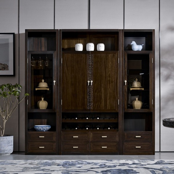 恒久一檀新中式实木家具酒柜 餐边柜 圆餐台
