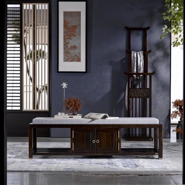 恒久一檀新中式实木家具换鞋凳 床尾凳 长条凳 衣架