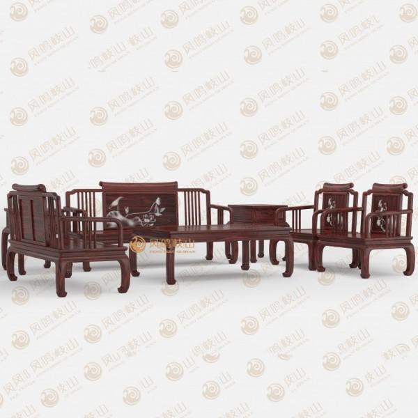 凤鸣岐山红木家具宋式客厅沙发组合
