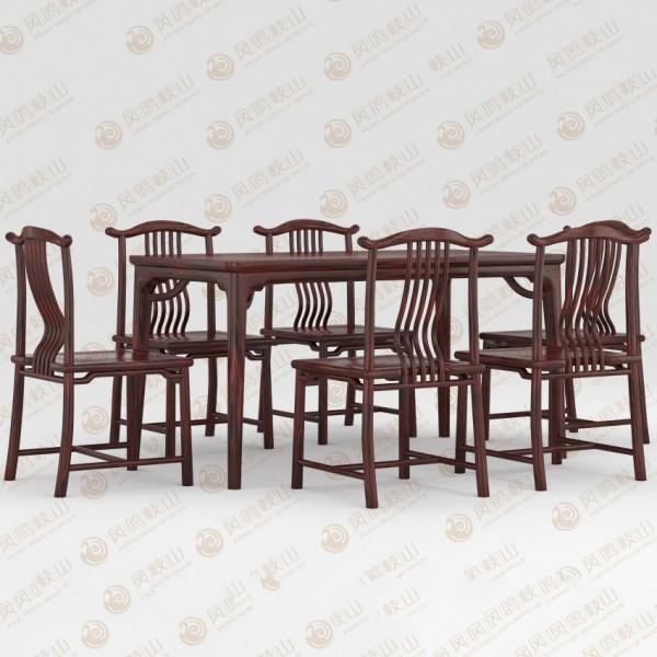 凤鸣岐山红木家具宋式方台餐桌椅