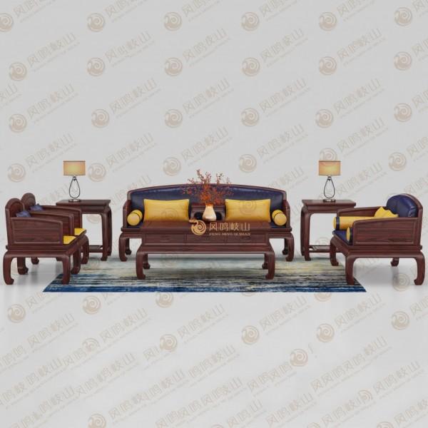 凤鸣岐山红木家具客厅锦上添花沙发套