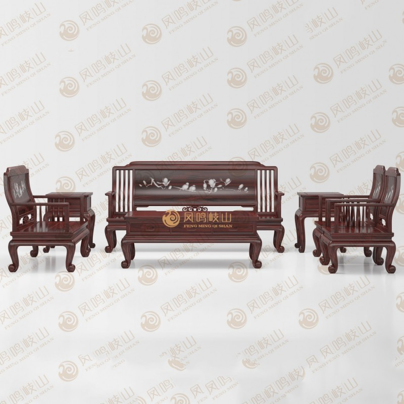 凤鸣岐山红木家具客厅新款弯背沙发