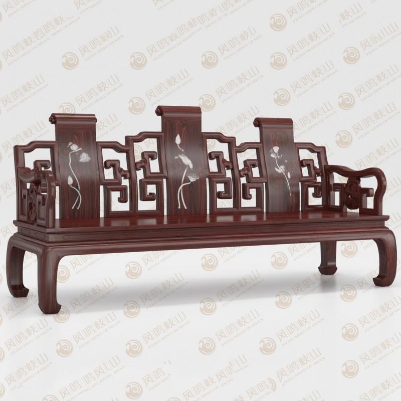 凤鸣岐山红木家具卷书沙发床