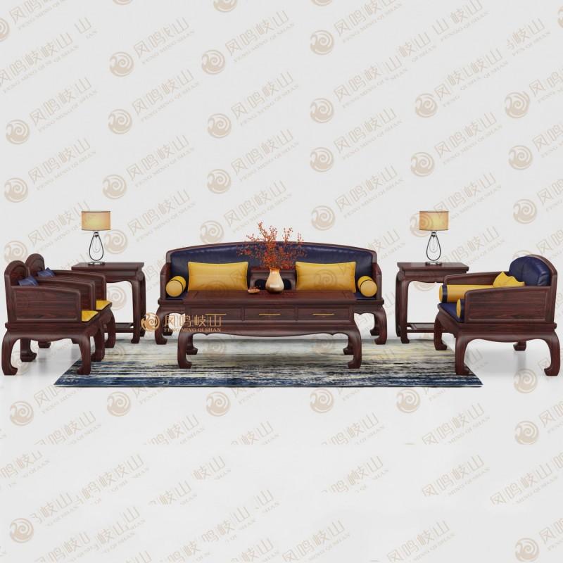 凤鸣岐山红木家具锦上添花沙发六件套