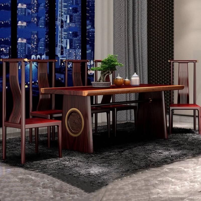 喜之林东阅新中式实木家具餐桌椅