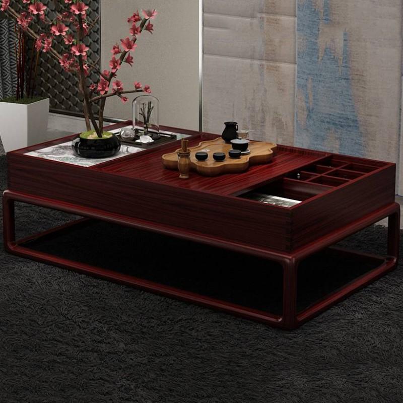 喜之林东阅新中式实木家具客厅大茶几带格子