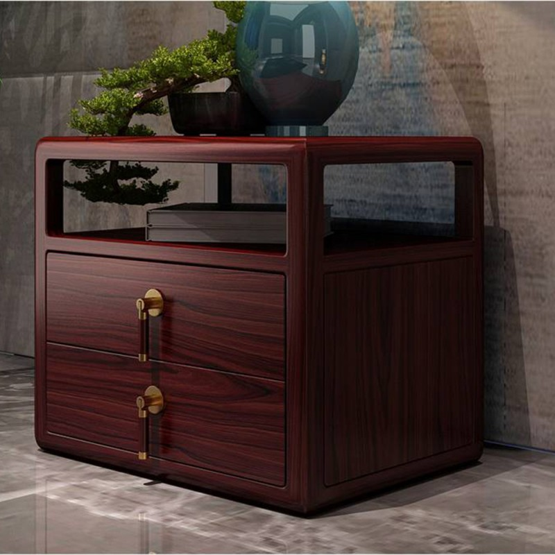喜之林东阅新中式实木家具床头柜带抽