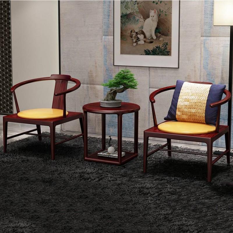喜之林东阅新中式实木家具客厅休闲椅套装