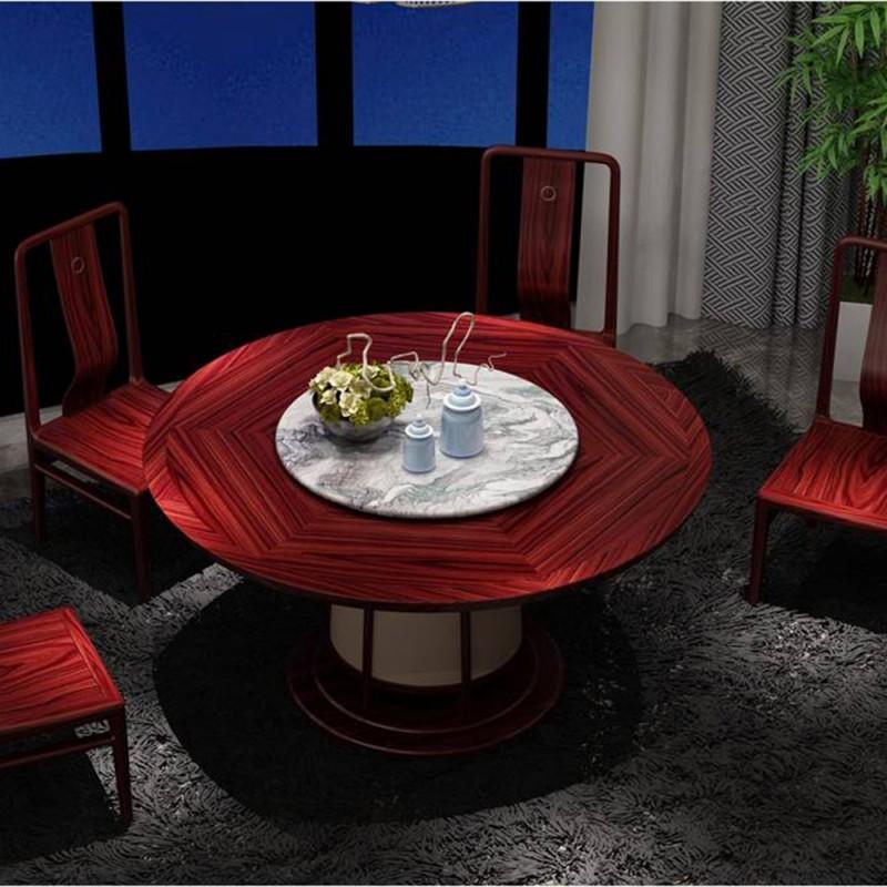 喜之林东阅新中式实木家具餐厅圆餐台餐椅