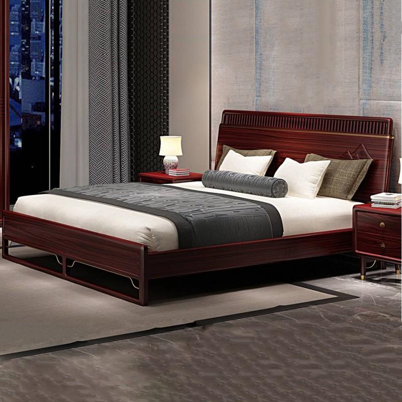 喜之林东阅新中式实木家具卧房实木大床床头柜