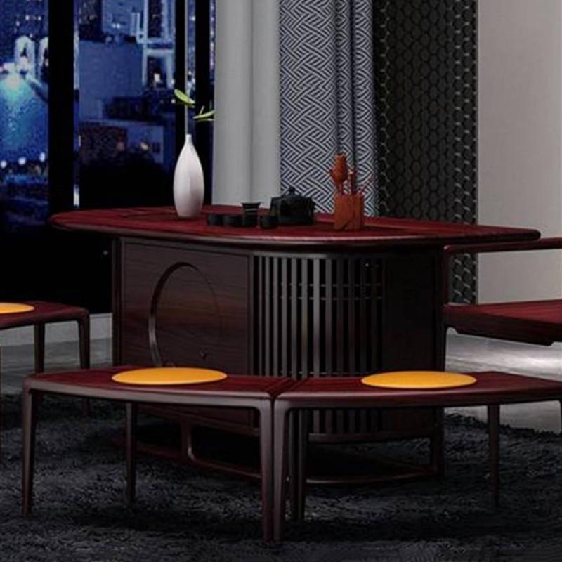 喜之林东阅新中式实木家具茶水桌茶椅