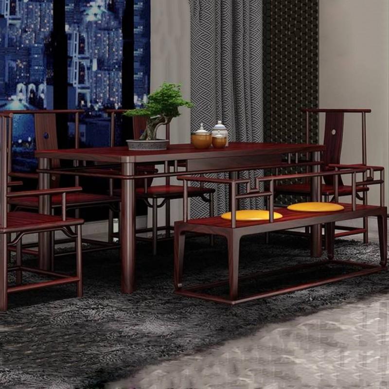 喜之林东阅新中式实木家具茶桌椅套装1