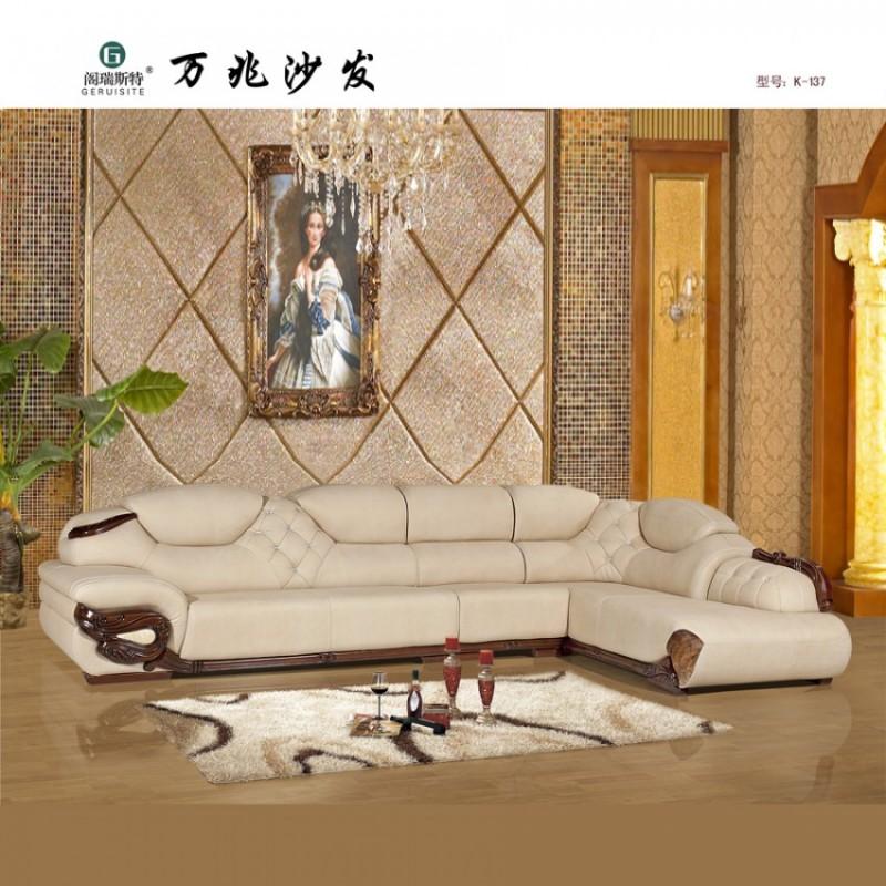 简约欧式客厅皮沙发定