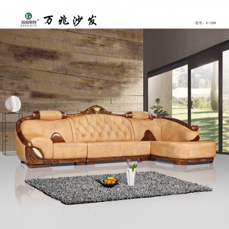 客厅真皮沙发 欧式实