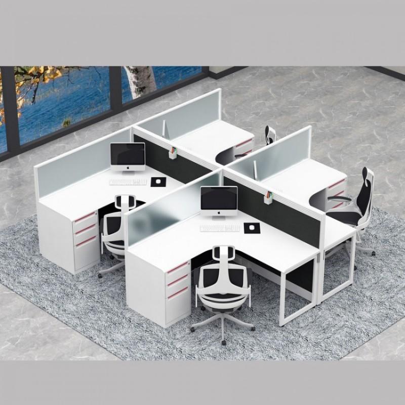 现代办公桌屏风L型台面4人位PF-02#