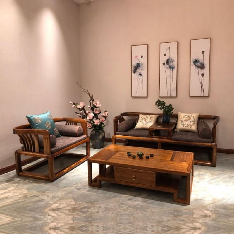 办公室新中式实木洽谈沙发价格 SF-06#