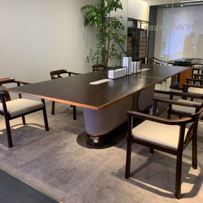 新中式实木会议桌长条桌定制 HYZ-01#