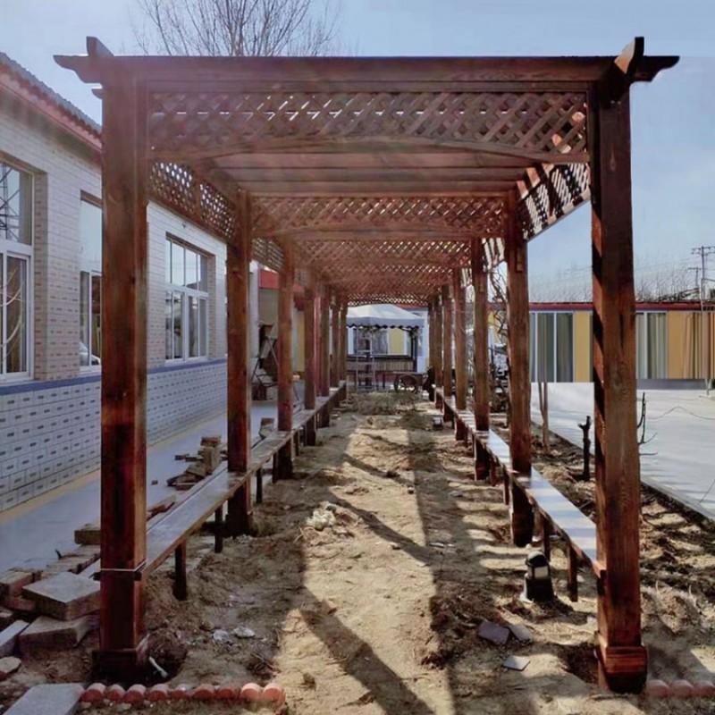 家用农家院庭院长廊户外防腐木长廊