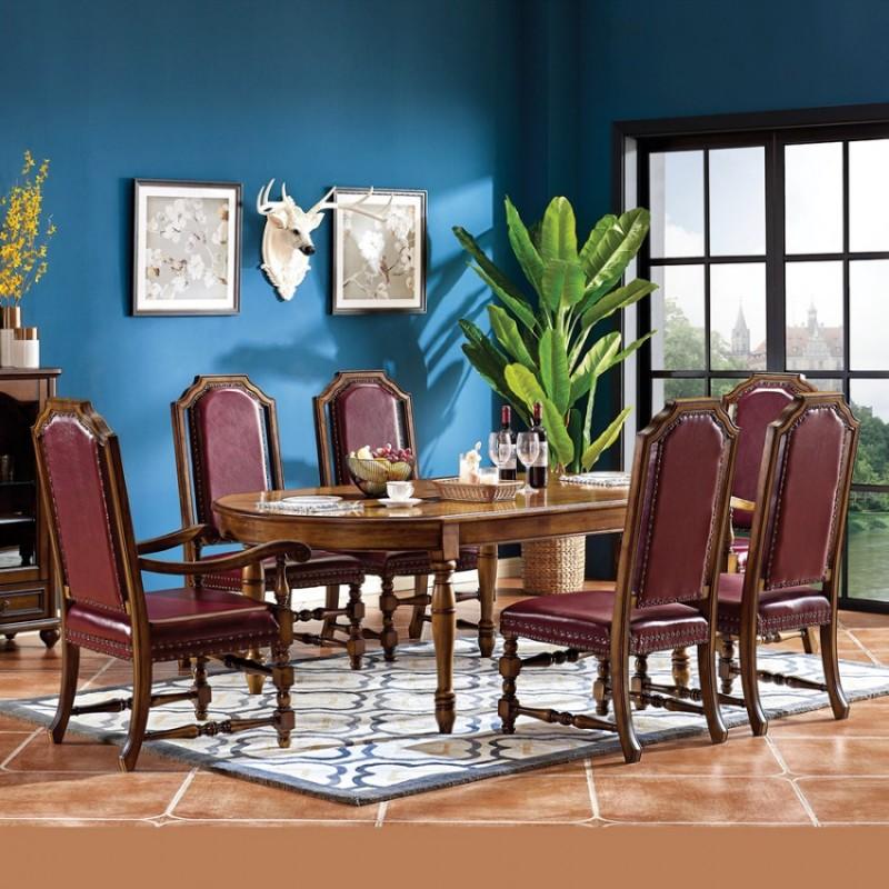 美式家具实木长餐桌椅组合价格E-04#