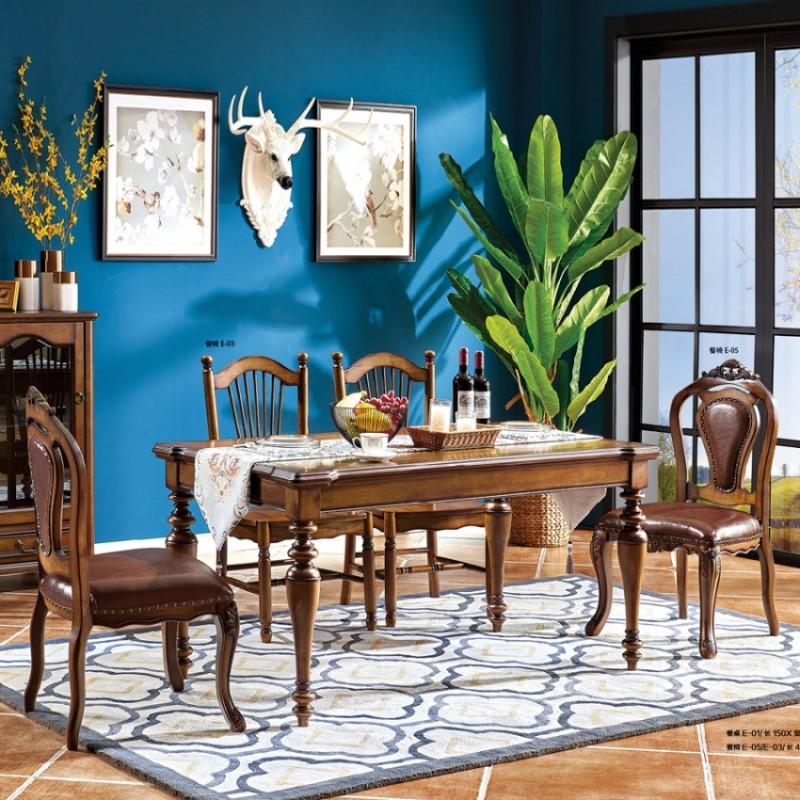 艾沃森美式实木餐桌椅定制E-01#