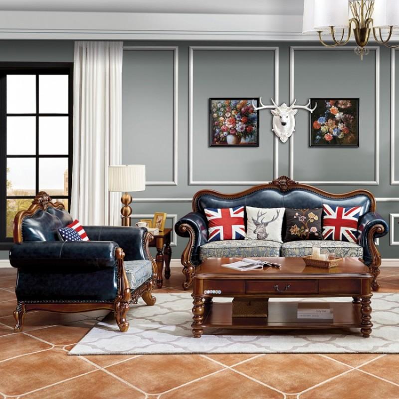 美式客厅真皮实木沙发供应商 M15#