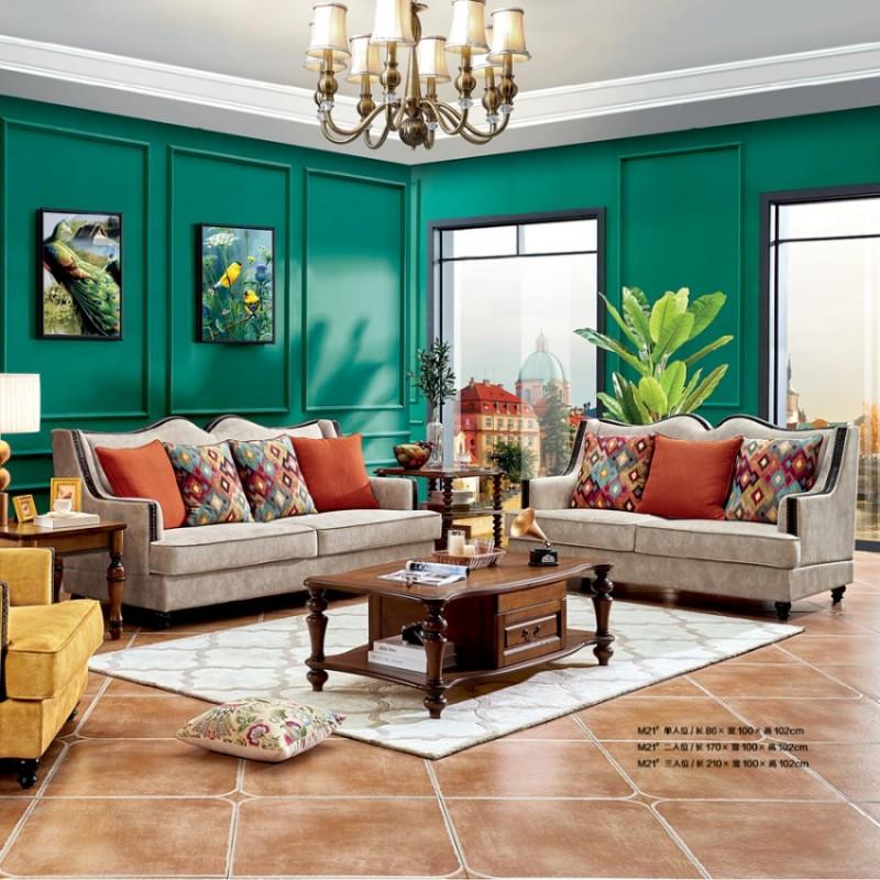 简约美式高端别墅客厅沙发定制 M21#