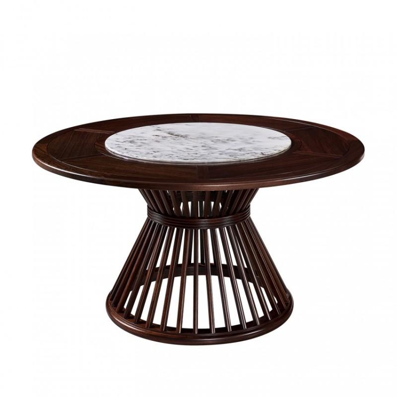 仟玺新中式实木非洲酸枝餐厅理石转盘圆餐桌KR02-135