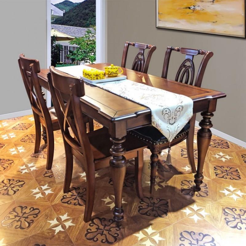 简约美式餐厅家具实木餐桌椅组合CZY-01#