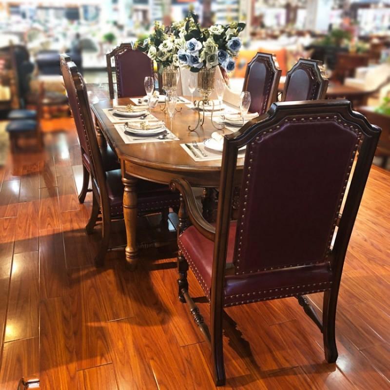 工厂直销美式实木餐桌椅CZY-05#