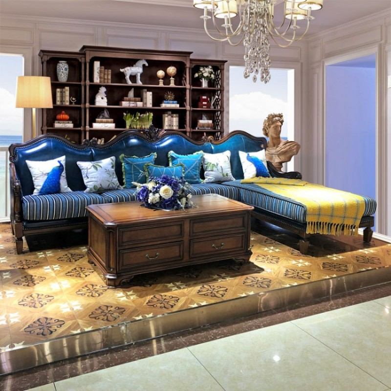 美式转角沙发组合皮艺