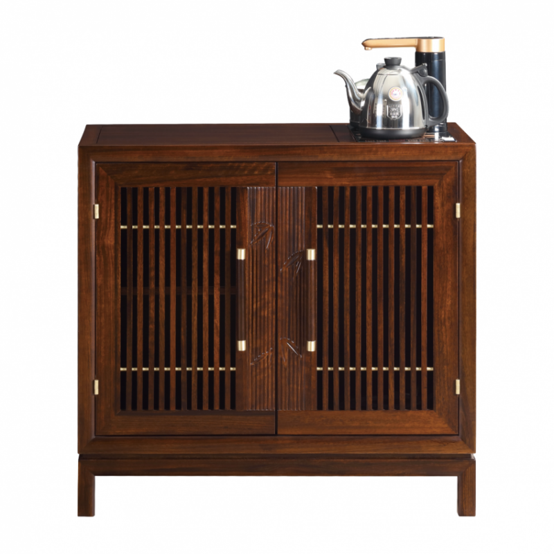 檀意新中式黑檀实木茶室带烧水壶茶桌HT9905