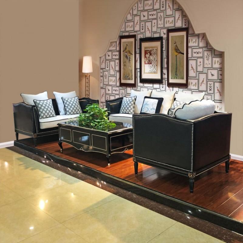 时尚美式客厅家具真皮