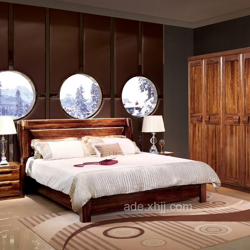 高档乌金木卧室套房双人床衣柜27