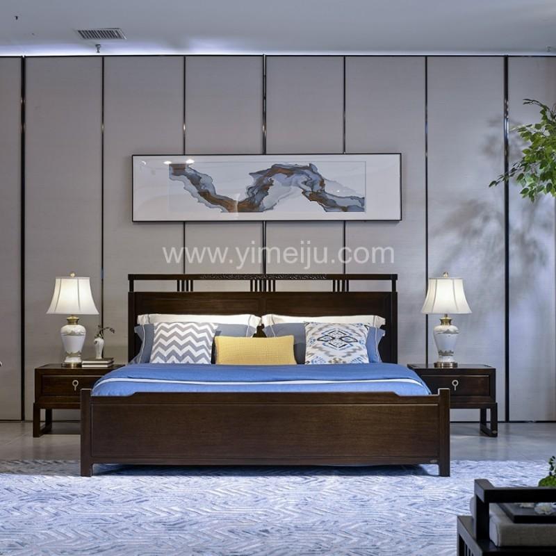 恒久一檀新中式实木家具卧房简约实木大床