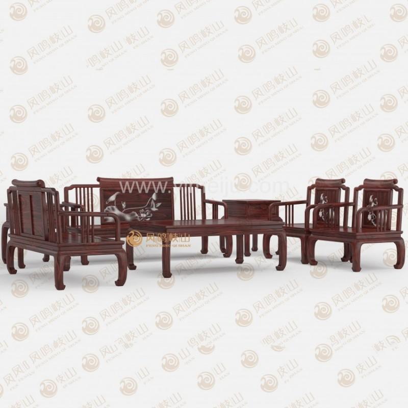 凤鸣岐山红木家具宋式客厅沙发