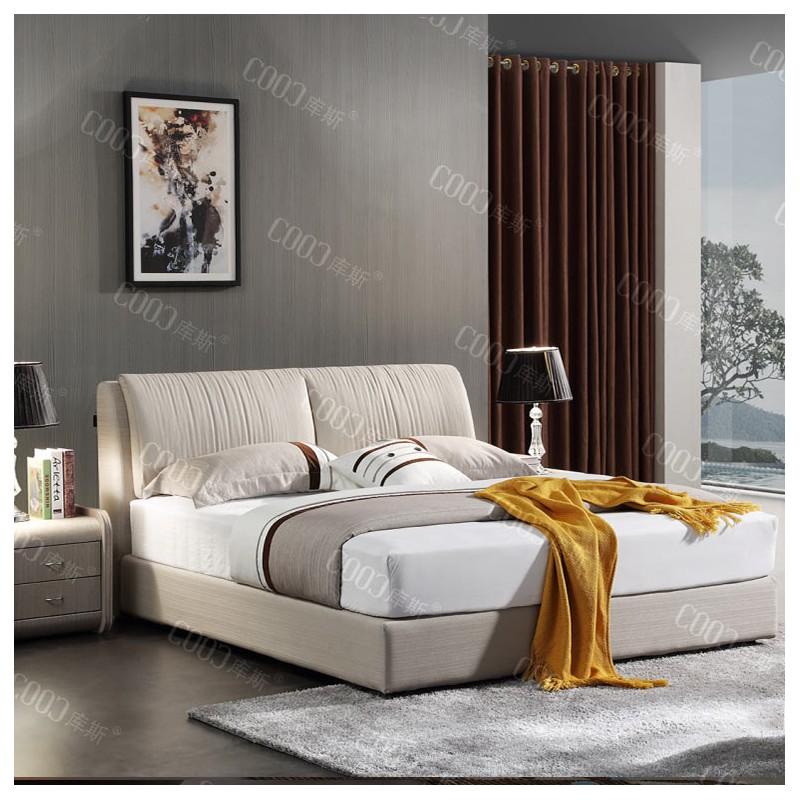 时尚布艺米白色大床 卧室简洁简约大床-3050