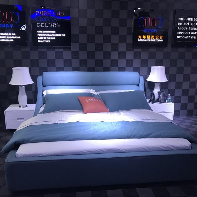 时尚布艺湖绿色大床 卧室简洁简约大床-3082