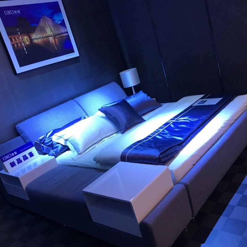时尚布艺大床深灰色 卧室布艺床-3102