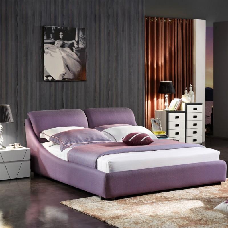 时尚布艺大床紫色 简约卧室布艺床-3061