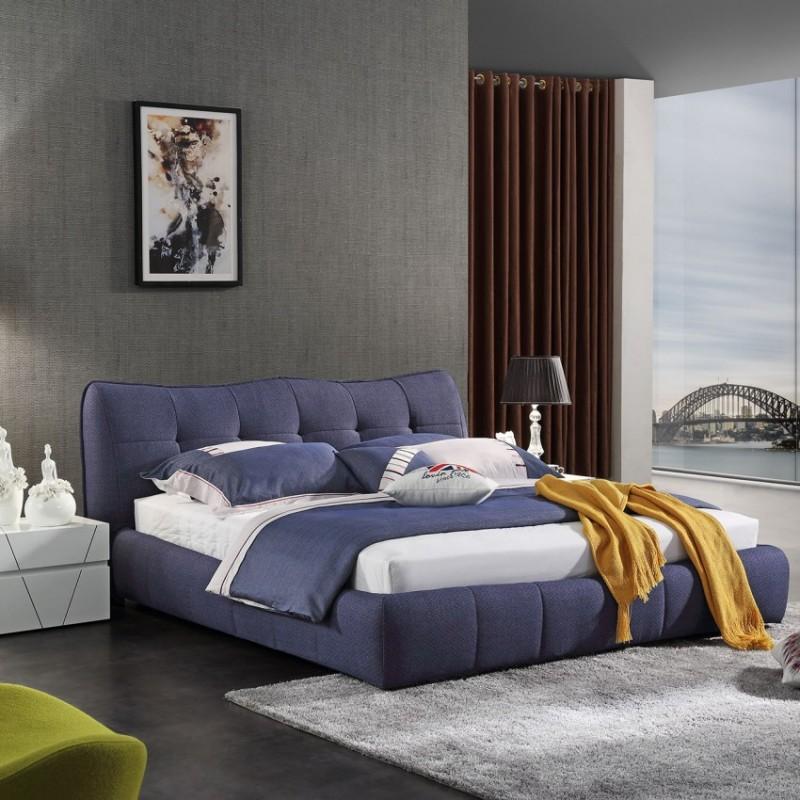 时尚布艺大床蓝色 简约卧室布艺床-3070