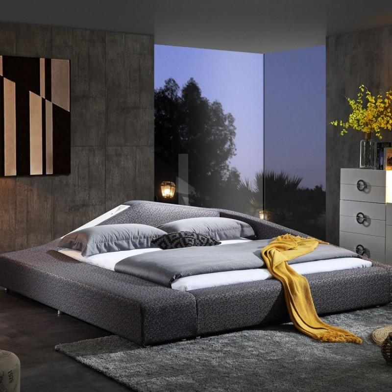 时尚布艺大床麻灰色 个性简约卧室布艺床-3076