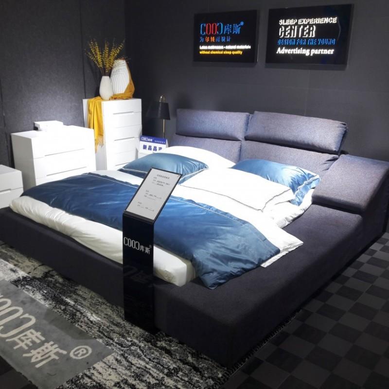 时尚布艺大床深灰色 个性简约卧室布艺床-3077B