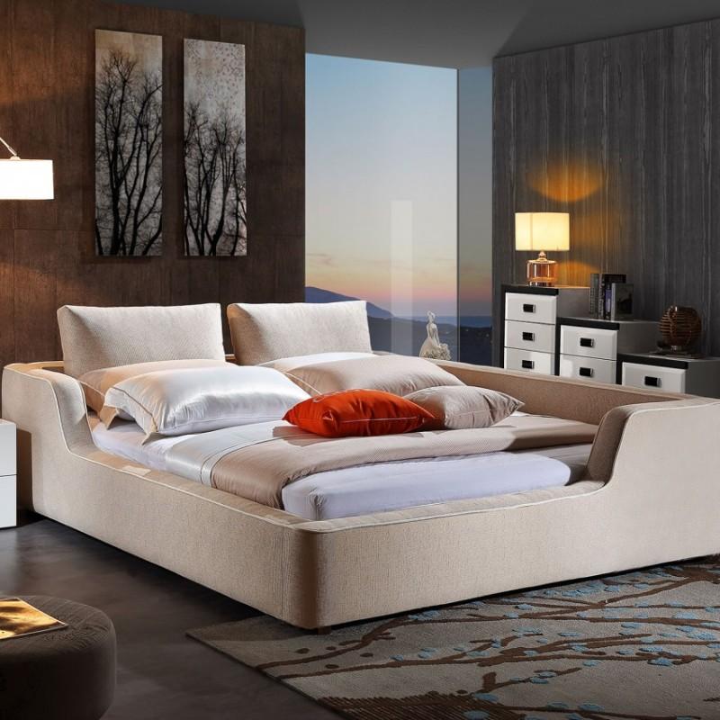 时尚布艺大床米白色 简约卧室布艺床-3091