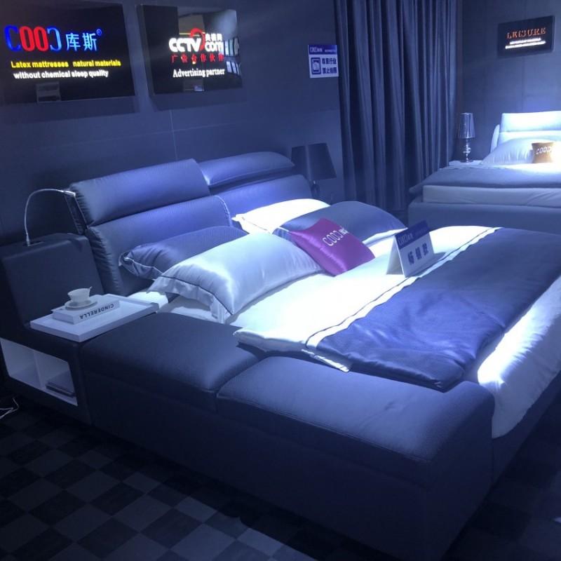 时尚布艺深色大床 简约卧室布艺床-3150