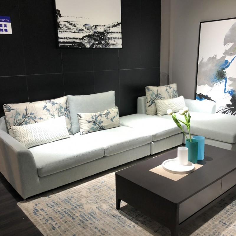时尚高档客厅布艺沙发茶几电视柜组合 简约灰色布艺转角沙发_6023